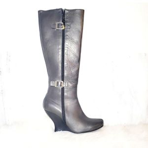 N.Y.L.A. Leather 7 Tall Shaft Boots Black Gray